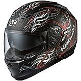 オージーケーカブト(OGK KABUTO) バイクヘルメット フルフェイス KAMUI-2 TRIRUG (トライラグ) フラットブラックレッド L(59-60cm)
