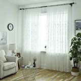 Koalcom Translucent Gauze Willow Leaf Blind Embroidered Voile Curtain Tulle Window Drapery Sheer Drapes Bedroom Bathroom