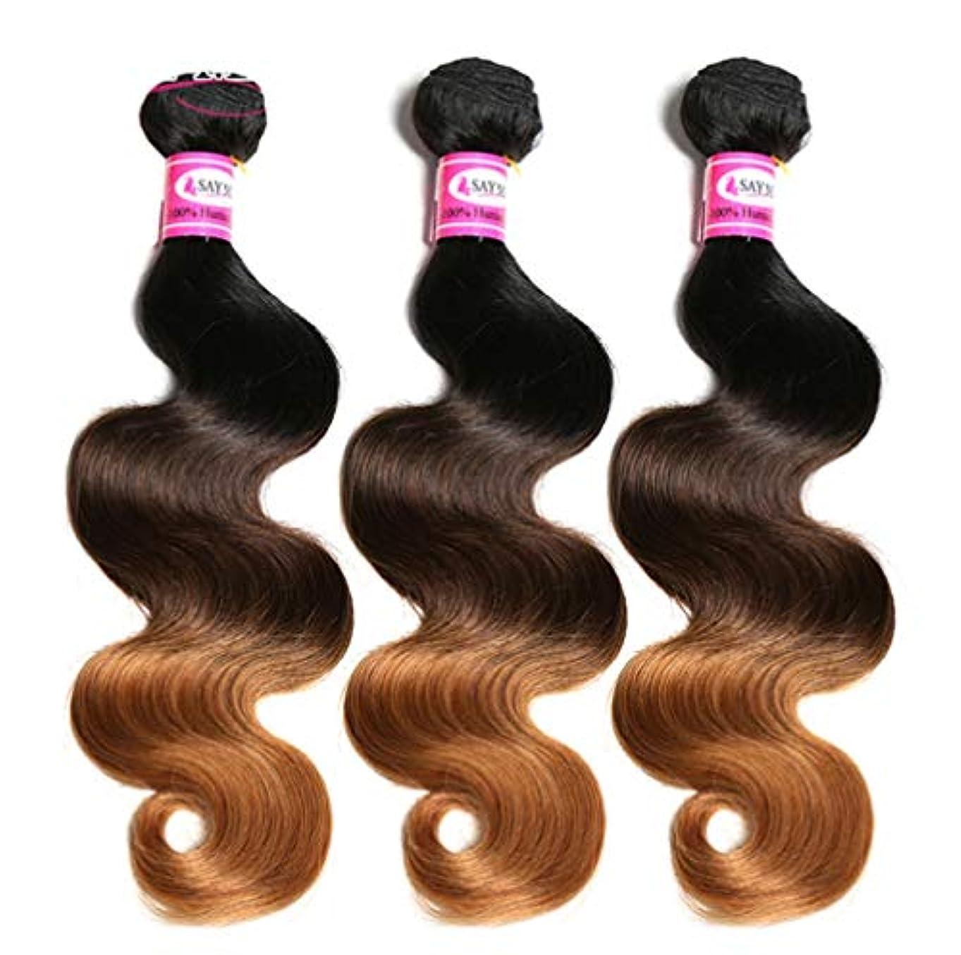孤独な端末うん100%ブラジル人毛束ボディウェーブ毛束オンブル人毛束織りグラデーション(3束)