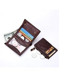 財布 メンズウォレット レザー 垂直 レトロ 層状牛革 ショート 取り外し可能