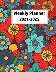 Weekly Planner 2021-2025: 2021-2025 Weekly and Monthly Planner Notebook with Flower