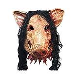 (デマ―クト)De.Markt ハロウィンマスク 動物マスク かぶりもの 仮装面具 リアル 豚 髪 恐ろしい 被り物 コスプレ お化け屋敷 パーティー 大人 子供