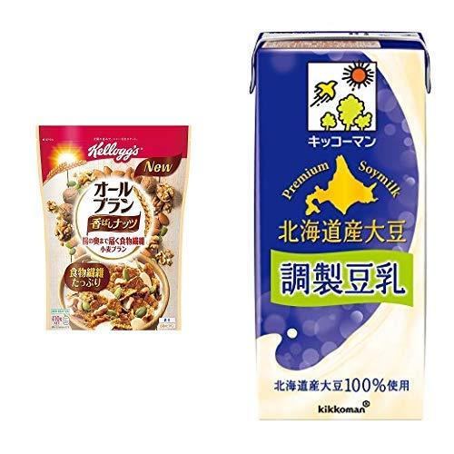 【セット買い】ケロッグ オールブラン香ばしナッツ 410g×6袋 + キッコーマン飲料 北海道産大豆調製豆乳 1000ml×6本