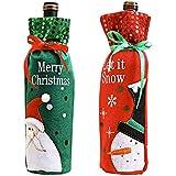 2 Pack Christmas Season Wine Bottle Cover, Holiday Wine Bottle Coat, Christmas Table Decoration for Christmas Party Dinner De