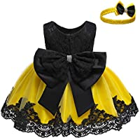 Baby Girls Lace Dress Bowknot Flower Dresses Wedding Pageant Baptism Christening Tutu Gown 0-24 Months
