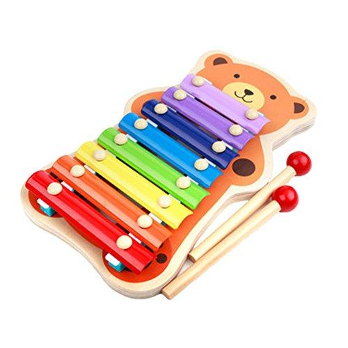 TYGJ 赤ちゃん知育玩具 楽器 木琴 シロホン 安全無毒 音楽玩具 子供プレゼント ミュージックステーション 熊