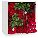 父の日 ソープフラワー 創意方形ギフトボックス 誕生日 記念日 母の日 先生の日 バレンタインデー 昇進 転居など最適としてのプレゼント (レッド-2)