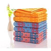 タオル セットの6純粋なコットンタオルファミリーホテルバスルームタオル髪乾燥タオル美容ケアメイクアップフェイスタオル(2ピンク+2イエロー+2ブルー)