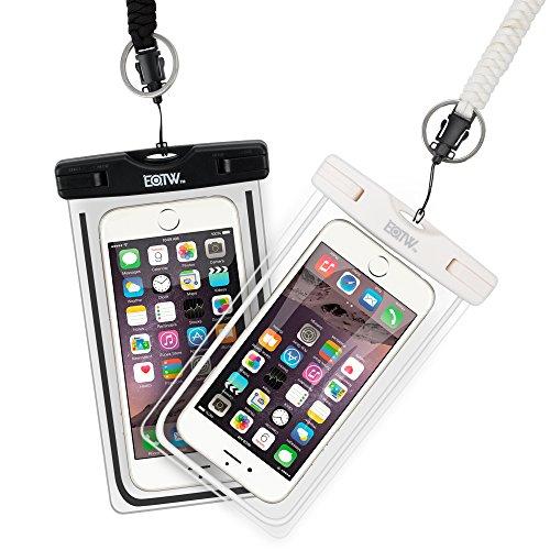 iPhone6s 防水ケース EOTW® 防水携帯ケース アウトドア ダイビング 温泉 釣り お風呂 水泳 砂浜 水遊び等に最適な防水袋、スマホケース・カバー 救助用ネックストラップ付属 防水国際保護等級:IPX8認定獲得 iPhone 7 Plus/6sPlus、Galaxy Note7/S7edge、Xperia Z5/Z4、Nexusなど、ほぼ全機種対応 スマートフォン用防水・防塵ケース (黒+白(二枚セット))
