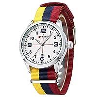 QTMIAO 美しいCURREN時計 8195ホットメンズキャンバススポーツニュートラル防水クォーツウォッチ (Color : 2)