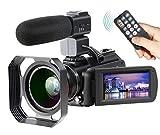4K Camcorder Ansteker Ultra-HD 1080P 24MP 30FPS Digital WiFi Video Camera IR Night Vision Camcorder with Microphone and Wide Angle LensLens Hood (Black) [並行輸入品]