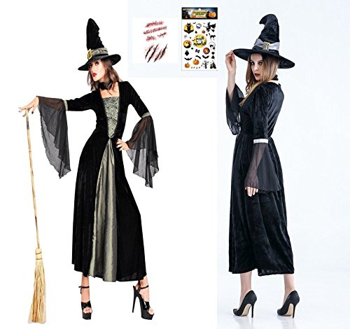 MONDEOLE(モンデオーレ) 魔女 コスプレ 衣装セット (魔女ロングドレス +魔女の帽子+ボディシール2枚セット) / フリーサイズ ハロウィン パーティ (黒)