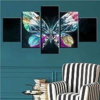 MUASYG 5つのキャンバス絵画 家の装飾オフィス壁アートワークポスター現代キャンバス5ピース蝶hd印刷モジュラー風景絵絵画