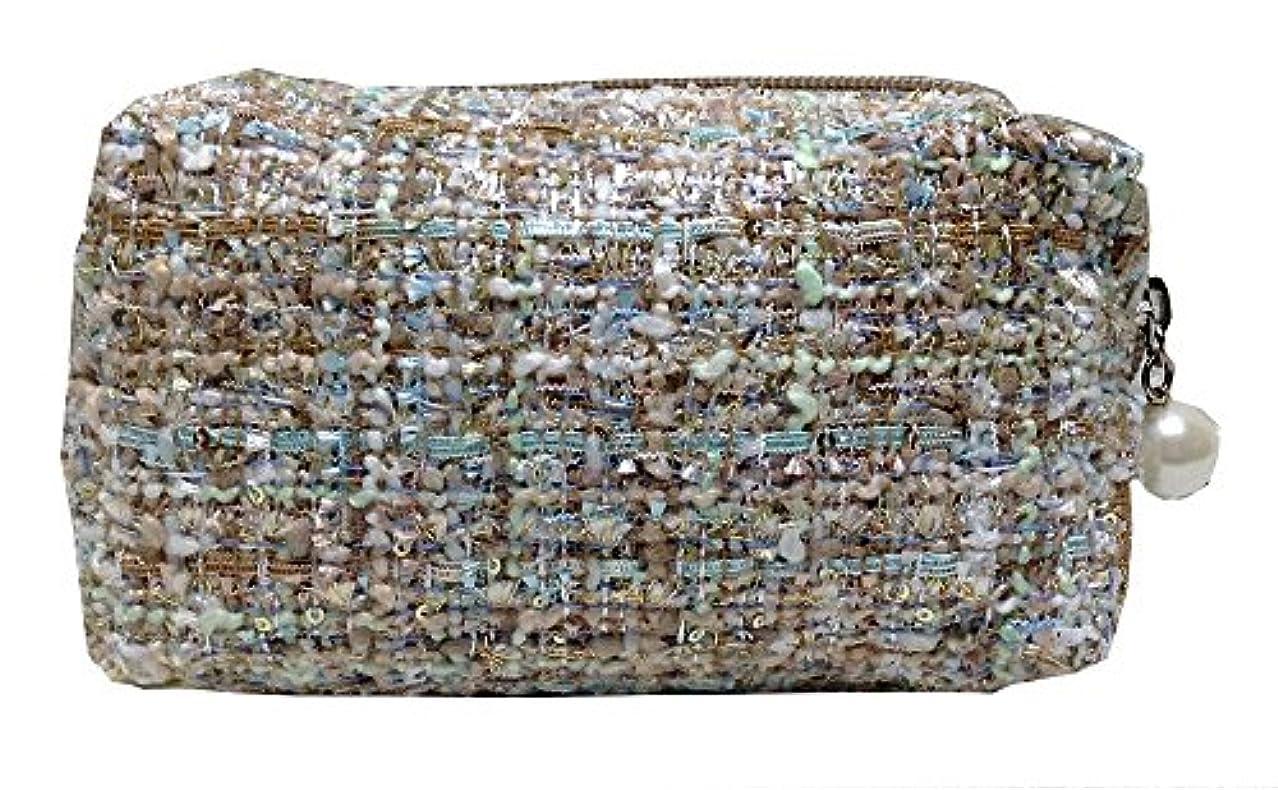 高度引っ張る美的化粧ポーチ 編み柄A ホワイト【9070】