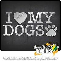 私は私の犬を愛する I love my dogs 20cm x 9cm 15色 - ネオン+クロム! ステッカービニールオートバイ