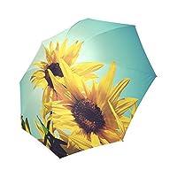 カスタム美しいひまわりコンパクト旅行防風防雨折りたたみ式傘