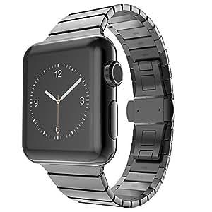 新作Apple watchバンド アップルウォッチステンレスベルト ビジネス用 Watch Sport交換 ベルト 38mm/42mm 男性 プレゼント(42㎜, ブラック)