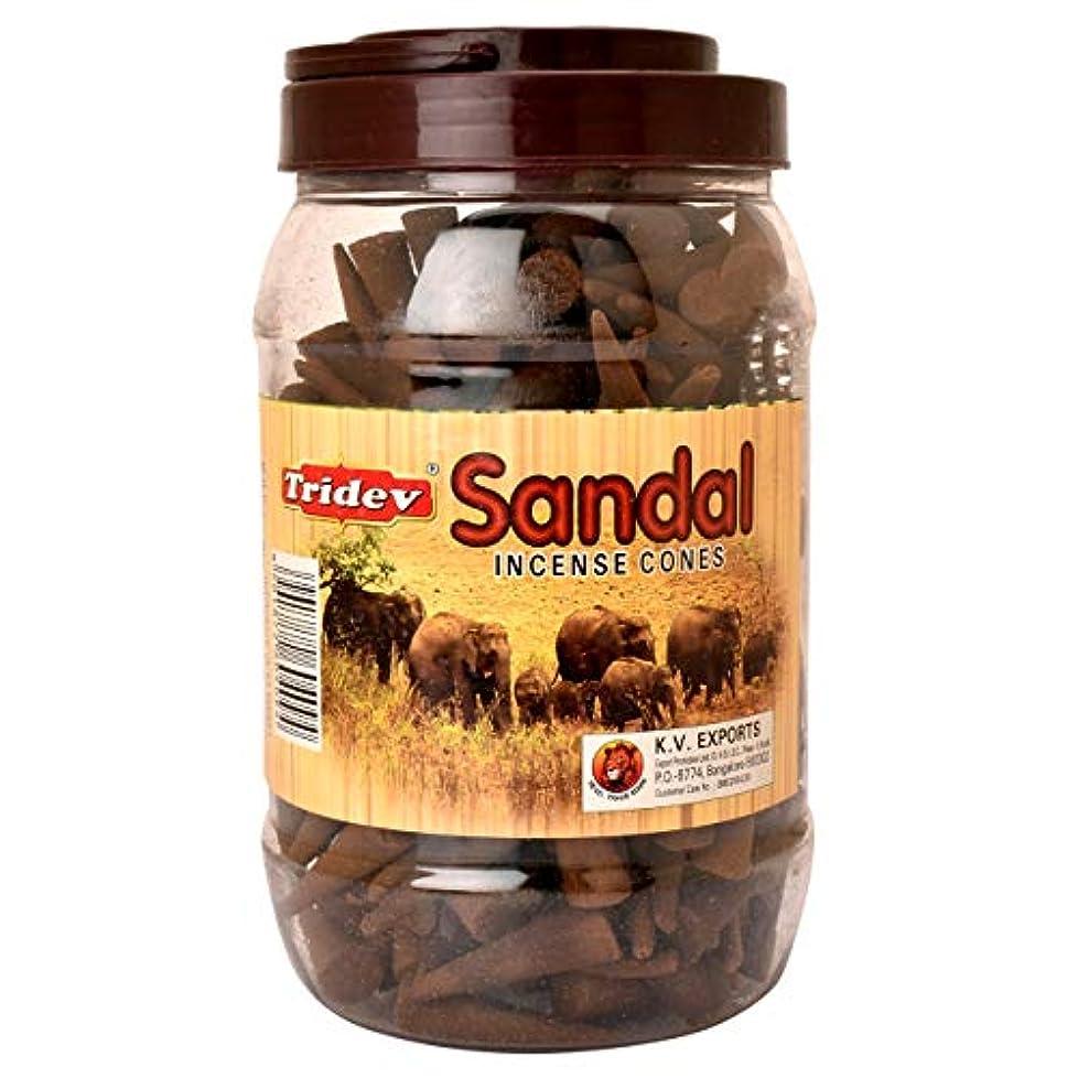 香り才能リズミカルなTridevサンダルIncense Cones Jar 500グラムパック