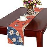 LKCDNG テーブルランナー 赤い 美しい 和風の花 クロス 食卓カバー 麻綿製 欧米 おしゃれ 16 Inch X 72 Inch (40cm X 182cm) キッチン ダイニング ホーム デコレーション モダン リビング 洗える
