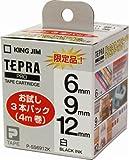 キングジム テープカートリッジ テプラPRO P-SS6912K お試し3本パック 白