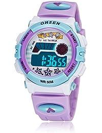 OHSEN 腕時計 子供 LED デジタル スポーツ アラーム 日付曜日 多機能ウォッチ-パープル