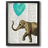 魅力的な芸術 30x40cm Elephant Teal Heart Balloon Vintage Book Sheet キャンバスの壁アート 画像プリント絵画リビングルームの壁の装飾と家の装飾のための現代アートワークハングする準備ができて
