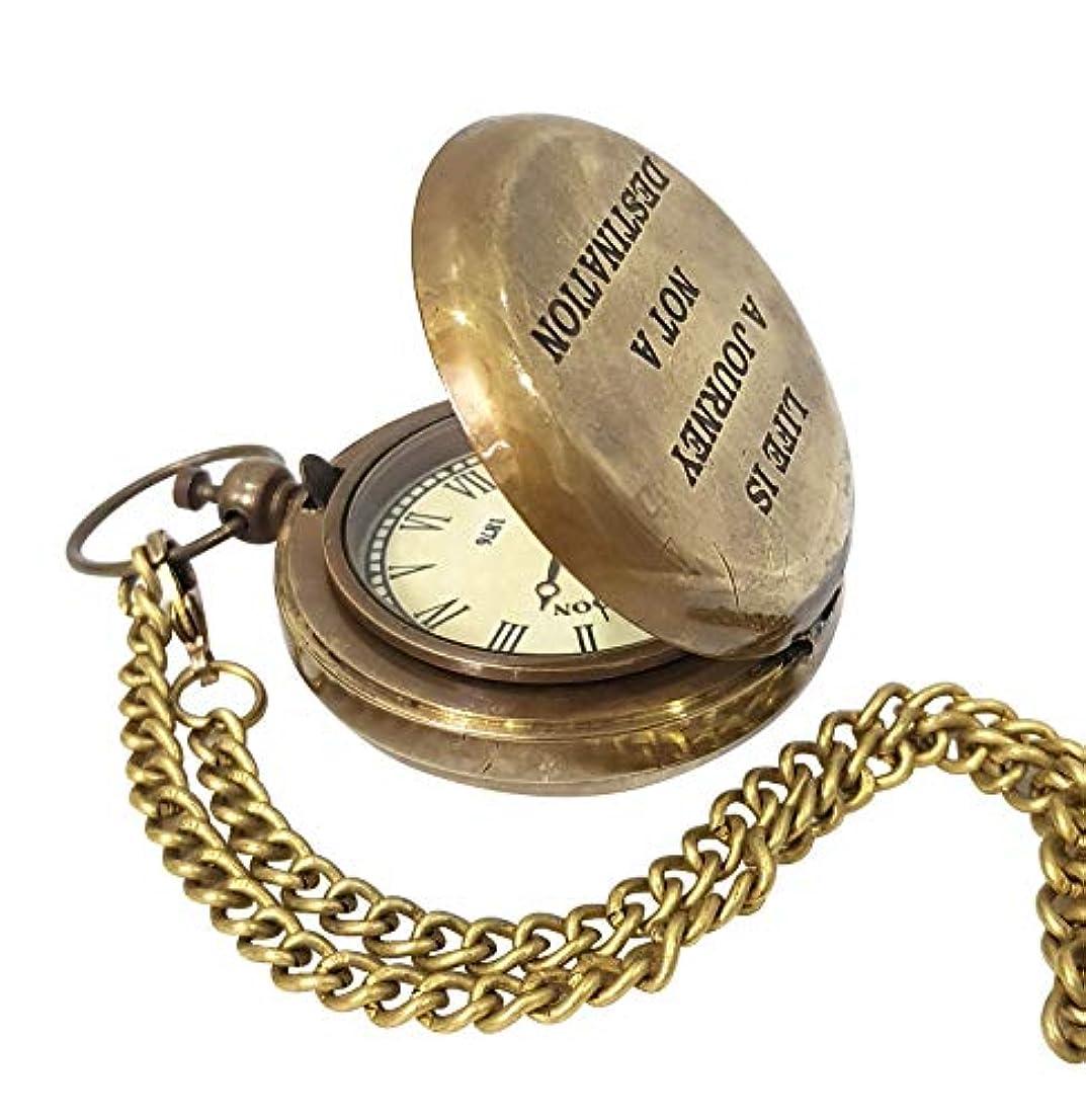 引退する大学院一族Collectibles Buy ビンテージ真鍮プッシュボタン式懐中時計 蓋付き ネイビー 海洋名言