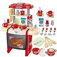 ままごと遊び キッチンセット 台所 ままごとセット 組立式 鍋 お皿 フライパン フライ返し 食器 調理器具付 ピンク