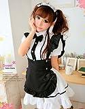 メイド服 衣装セット (ワンピース + エプロン + カチューシャ) コスチューム 黒×白 レディース