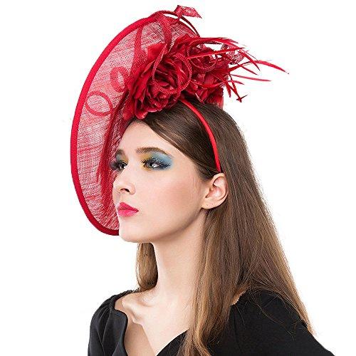 FS Flower Linen Fedora Hats Fascinator Base Large Brim Wedding Kentucky  Derby Hats 95fb5956858