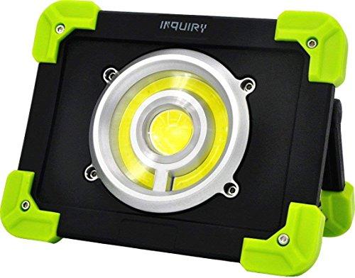 INQUIRY LED ワークライト 投光器 充電式 20W 1800ルーメン ポータブル 照明スタンド 内蔵6000mAh リチウム電池 緊急灯 キャンプ ガレージ 画家 屋外用 作業灯