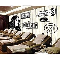 Mingld ヨーロッパとアメリカのレトロな木製の理髪店美容室大壁画3Dの壁紙寝室のリビングルームテレビステレオ3Dの壁紙-350X250Cm