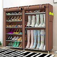 靴ラック - 6階建てのシューズラック+シューズキャビネット、大容量の二重列の防塵ストレージシューキャビネット(ナツメ、赤、茶色、灰色、赤)