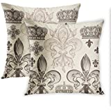 Lichtion Set of 2 Throw Pillow Covers Print Heraldic Pattern with Fleur-De-Lis and Crowns Tiara Coat of Arms Knight Decorative Soft Bedroom Sofa Pillowcase Cushion Couch 20 x 20 Inch