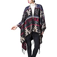 Soojun Women's Exotic Knitted Cashmere Poncho Capes Shawl With Tassel Indiana