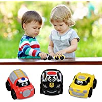 Creation Pull Back Vehicles , MiniプラスチックCars Friction Powered車緊急車トイカートゥーンCarsベビーToddlers Kids and Children – 3セット