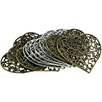 HOMYL Vintage Hollow Filigree Heart Charms - 64x56mm - Metal Antique Silver, Bronze Colors, Love Heart Pendants Ancient Jewelry Findings Handmade Craft Supplies, Pack of 10