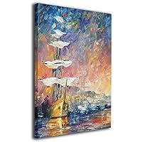 Derrick Amanda サンライズ セイルボート 現代壁の絵 壁掛け式の装飾画 壁アート 木製 インテリアアート 額縁なし ポスター 部屋飾り ウォールアート アートフレーム 壁絵 モダン 40x50cm