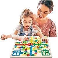 [ドリーマー] 2イン1! チェッカーズゲーム+フライングチェス リバーシブル 両面使用可 ダイス付き 木製おもちゃ 知育玩具 チャイニーズダイヤモンド 赤ちゃん 子供 6色 カラフル