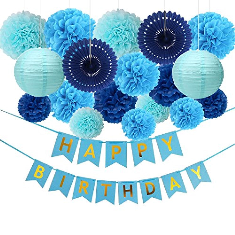 Fatpetブラックandゴールドパーティーデコレーションwith Happy誕生日バナーポンポン付きランタンゴールド箔フリンジカーテンfor 18、21、30th、40th、50th、60th、75th、誕生日パーティーの装飾(ブラック)