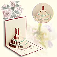 素敵な グリーティングカード手作り 3d ポップアップ切り紙中空折りたたみ ハッピー新年誕生日パーティー用品はがき で封筒