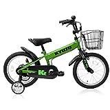 全5色 KYUZO 16インチ 子供用自転車 補助輪付 カゴ付 (グリーン)