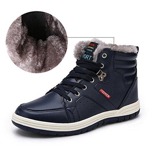 Sixspace アウトドアシューズ メンズ 防水 スノーブーツ ウィンターブーツ 防寒 綿靴 滑り止め ブルー 26cm