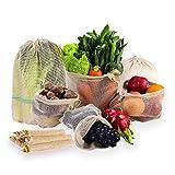 巾着袋 7枚セット 野菜保存袋 再利用可能な果物袋 コットン メッシュバッグ ネット袋 SML三つのサイズ