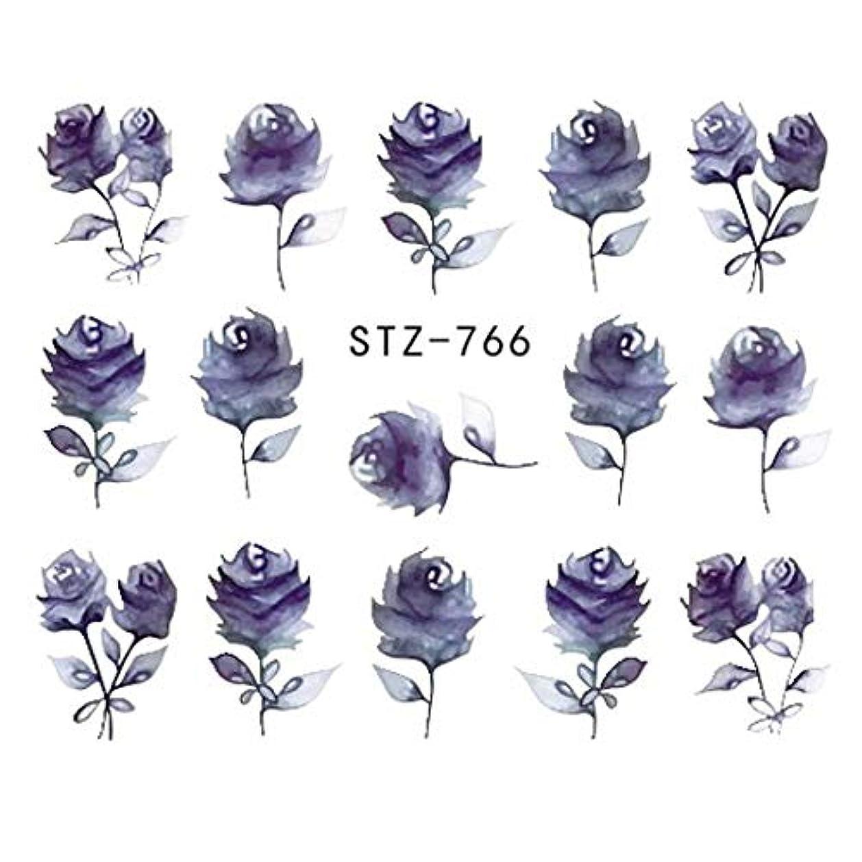 びん遠い不安定なSUKTI&XIAO ネイルステッカー 完全な美1シートの宝石類の釘のステッカーの黒い花のステッカーのマニキュアの水移動のスライダーホイルの設計装飾、Stz-766