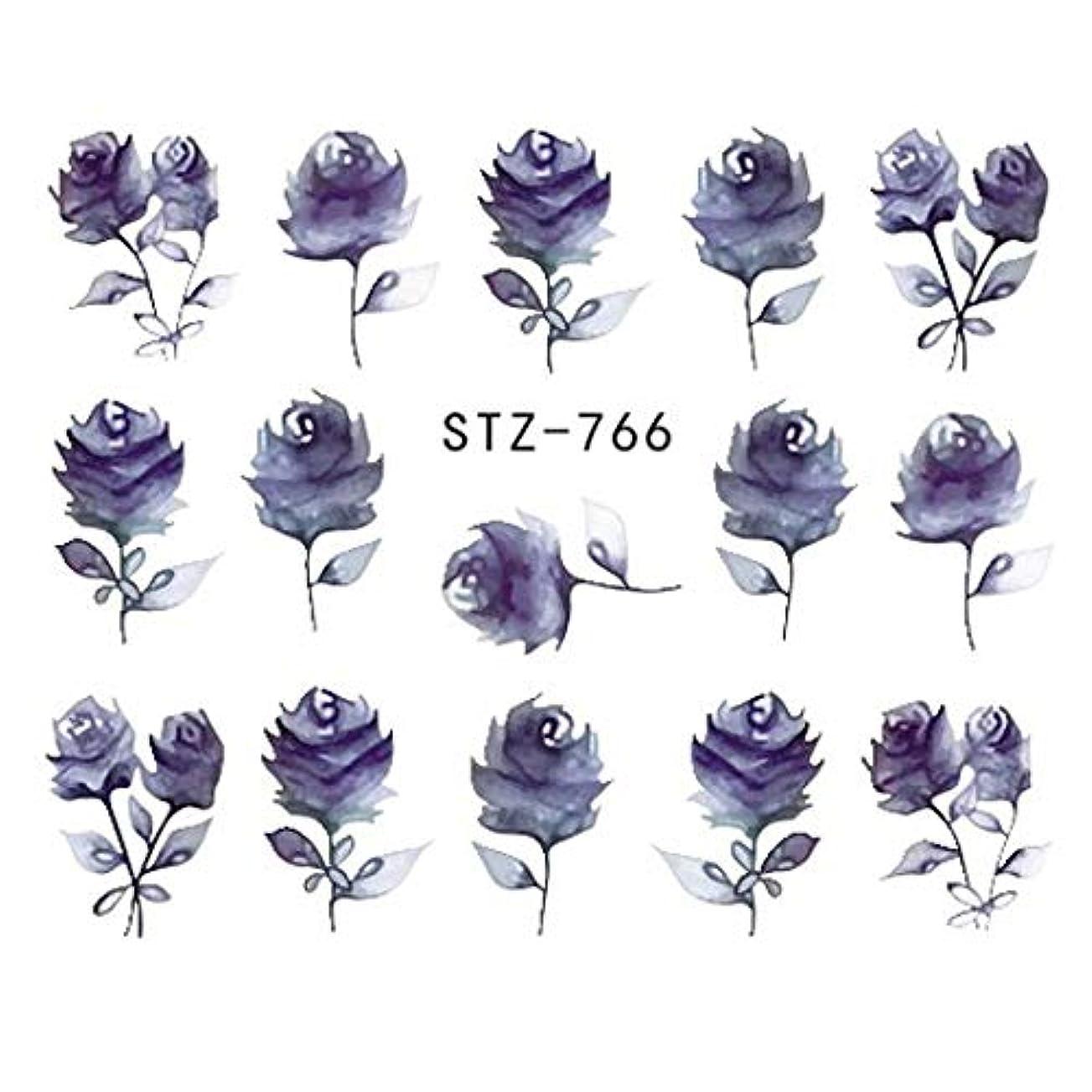 上げる国安定しましたSUKTI&XIAO ネイルステッカー 完全な美1シートの宝石類の釘のステッカーの黒い花のステッカーのマニキュアの水移動のスライダーホイルの設計装飾、Stz-766