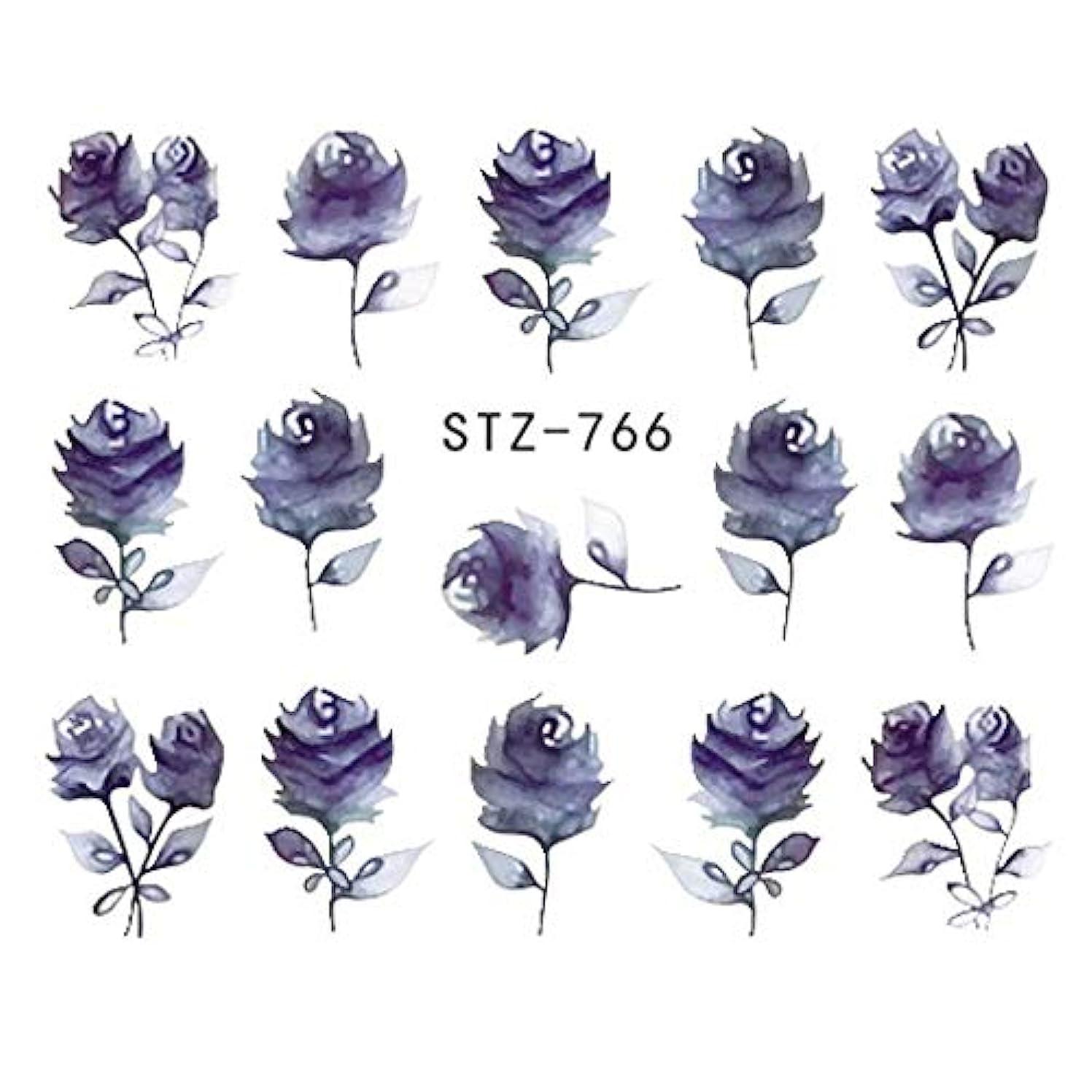老朽化したティーンエイジャー荒れ地SUKTI&XIAO ネイルステッカー 完全な美1シートの宝石類の釘のステッカーの黒い花のステッカーのマニキュアの水移動のスライダーホイルの設計装飾、Stz-766