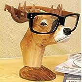 【アマテラス】ハンドメイド 木製 馬 鹿 犬  メガネスタンド 木彫り ウッディで 素朴な ユニーク 眼鏡置き 午年 干支グッズにも【MT054】 (鹿)