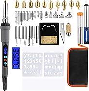 Yarnow 41pcs Wood Burning Kit LCD Digital Temperature Soldering Pyrography Pen Electric Engraver Engraving Too