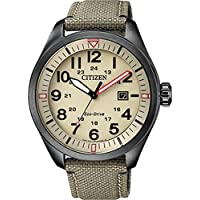 Citizen Eco-Drive Stainless Steel/Nylon Strap Mens Watch AW5005-12X